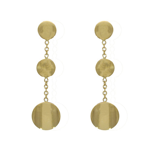 Disc and Chain gold drop earrings