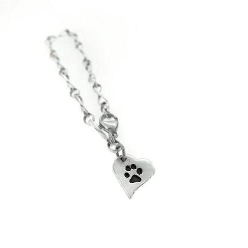 Silver Precious paws Melting heart charm and infinity bracelet