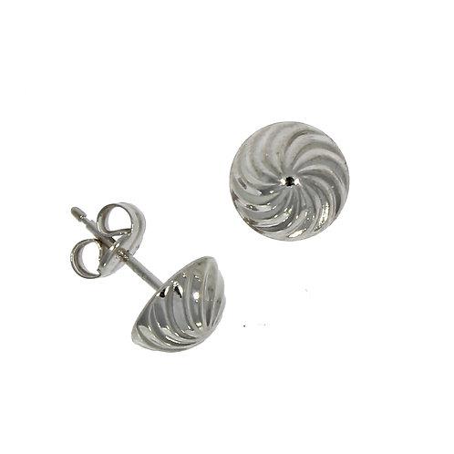 Swirl white gold stud earrings