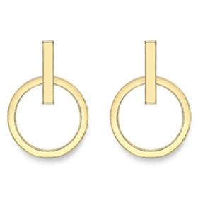 Line and Circle stud earrings