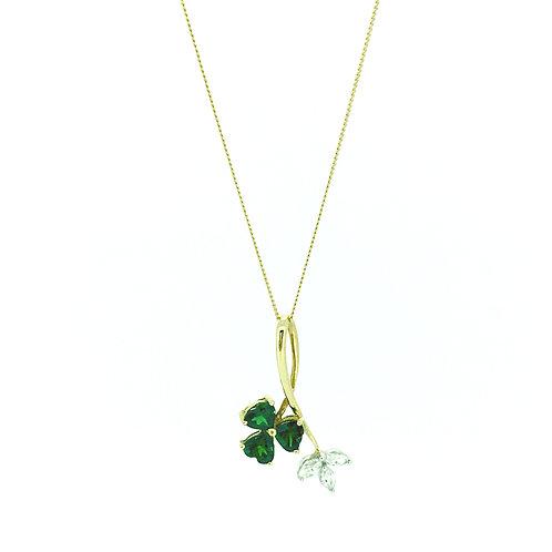 Tsavorite and Diamond Clover 18ct Gold pendant