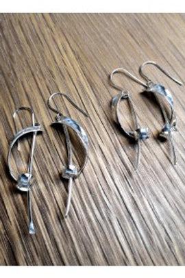Monet silver drop earrings - large