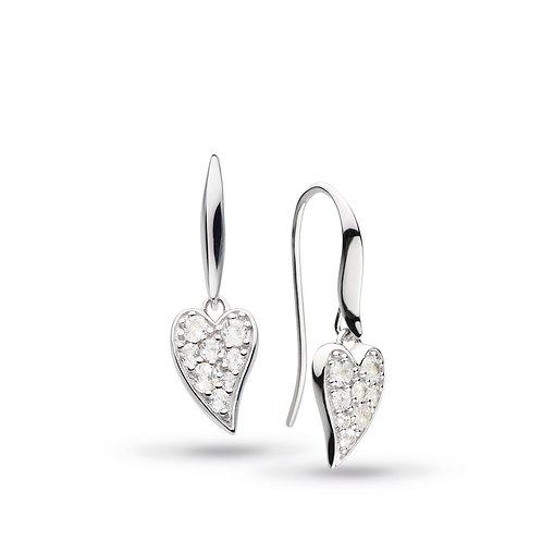 Desire Precious white topaz Heart silver drop earrings