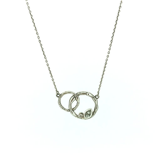 Reed silver necklace with Diamond and Beryl