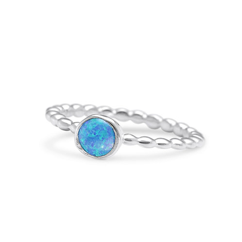 Vibrant Blue Opalite on Bubble band ring