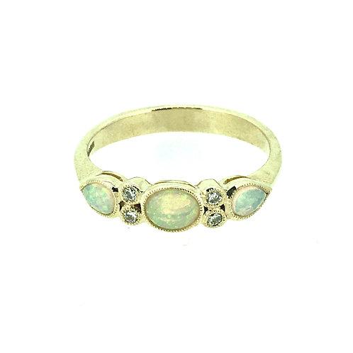 Opal and Diamond milgrain set gold ring