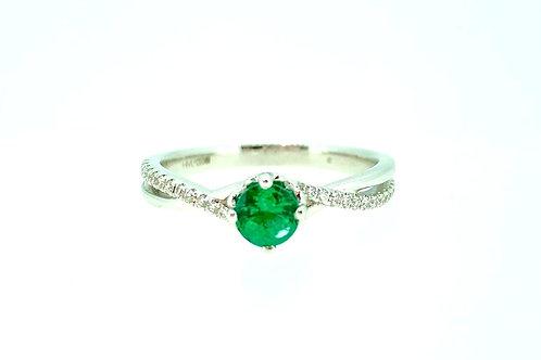 Emerald and Diamond twist ring