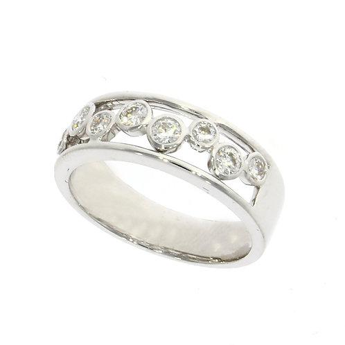 Diamond channel set bubble ring