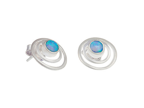 Opalite satin silver stud earrings
