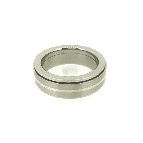 Steel Spinner ring with Silver inlay