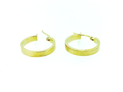 Textured yellow gold hoop earrings