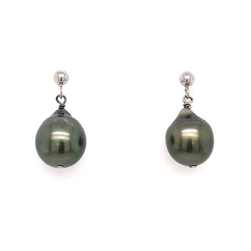 Baroque Grey Pearl White Gold drop earrings