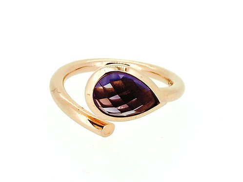 Amethyst and Rose Gold plated silver ring