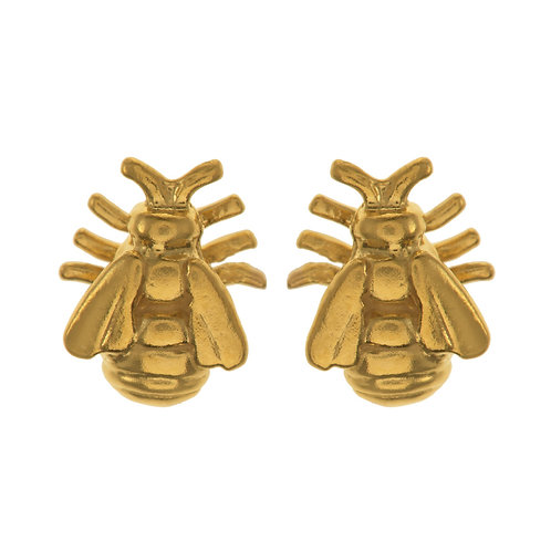 22ct Yellow gold plated Bee Stud Earrings