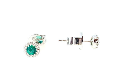 Emerald and Diamond halo white gold stud earrings