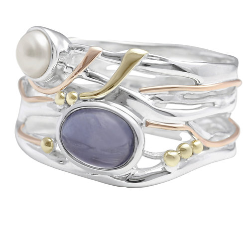Iolite and Freshwater Pearl Organic Silver ring