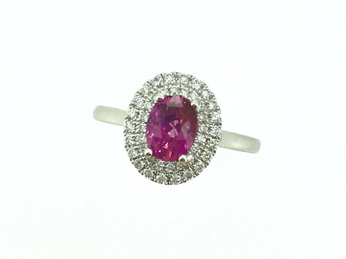 Pink Sapphire Double Diamond Halo ring