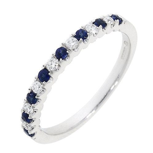 Sapphire and diamond 15 stone castle set eternity ring
