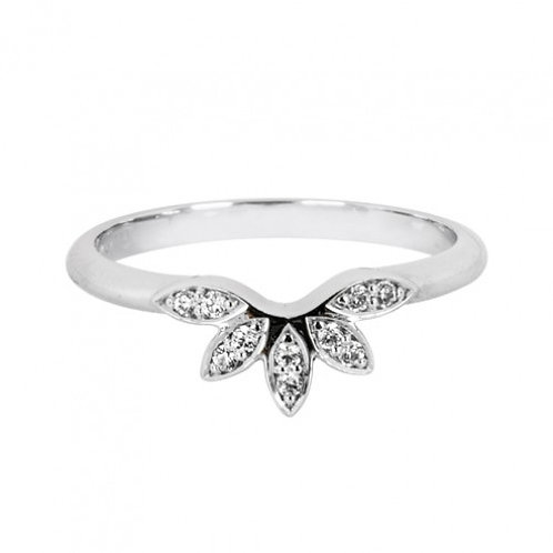 Floral diamond set shaped wedding band