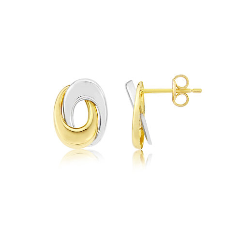 Bicoloured gold Swirl stud earrings