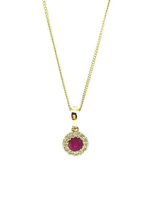 Ruby and Diamond cluster yellow gold pendant