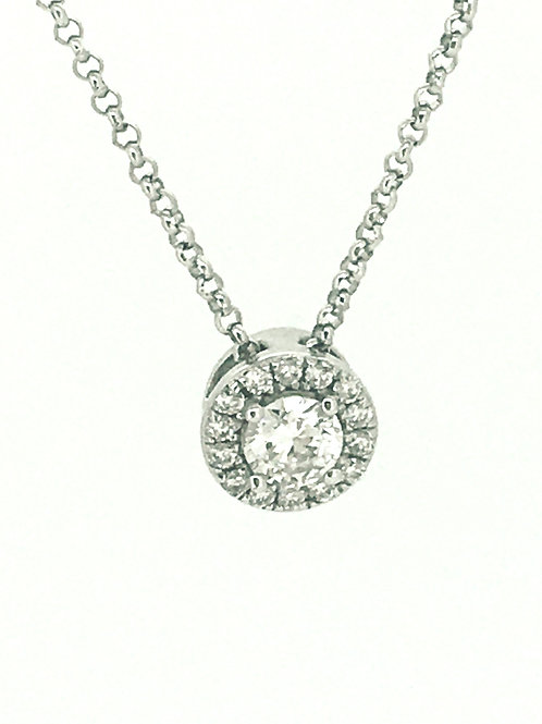 Diamond Solitaire with Halo White Gold pendant