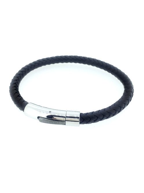 Dark Brown Leather bracelet with Steel clasp