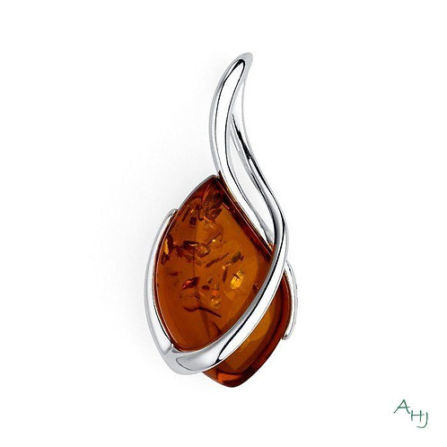 Baltic Amber and silver shaped pendant on silver chain
