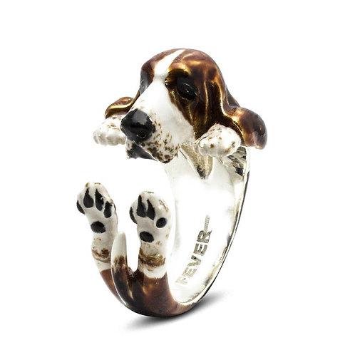 Silver Enamelled Basset Hound Hug ring