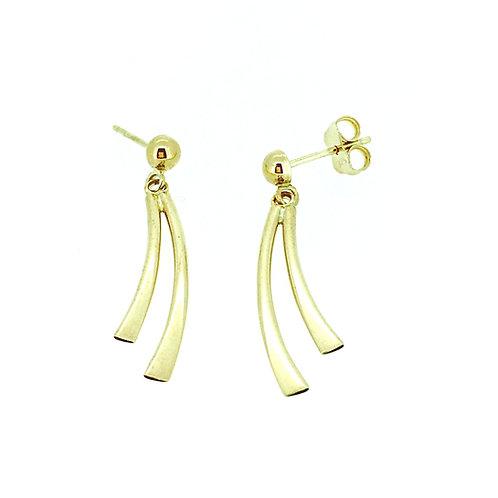 Double Curve gold drop earrings