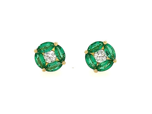 Emerald Marquise and Diamond 18ct Yellow Gold stud earrings