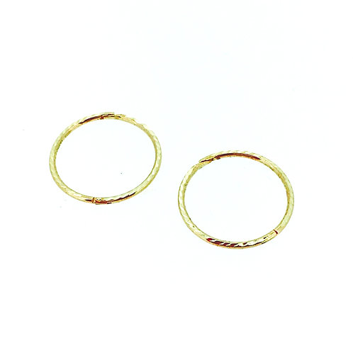 Hinged textured gold sleeper earrings