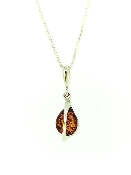 Baltic Amber teardrop silver pendant