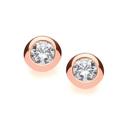 Cubic Zirconia Rose Gold plated Silver stud earrings