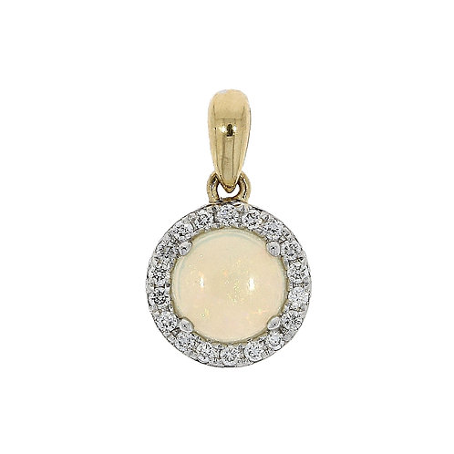 Opal and diamond round cut cluster pendant on chain