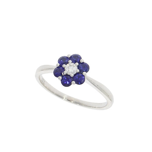Sapphire and Diamond flower cluster ring in 18ct white gold