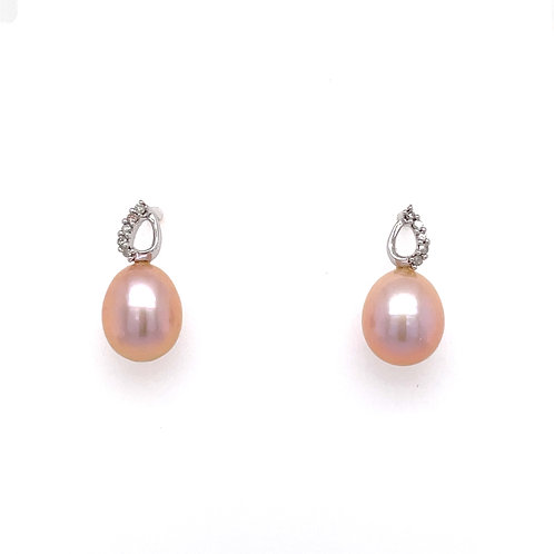 Freshwater Pink Pearl and Diamond White Gold stud earring