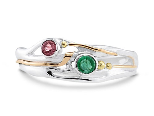 Emerald and Pink Tourmaline ring