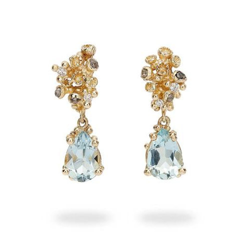 Aquamarine and Grey and White Diamond Barnacle Gold drop earring