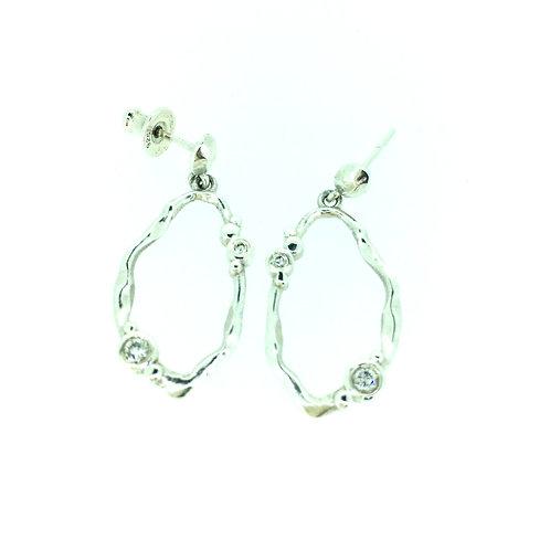 Flint silver drop earrings with Diamonds