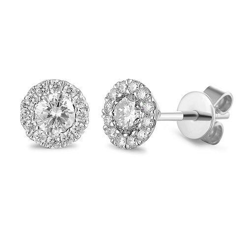 White Topaz and Diamond halo white gold earrings