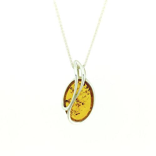 Baltic Amber Silver Swirl pendant