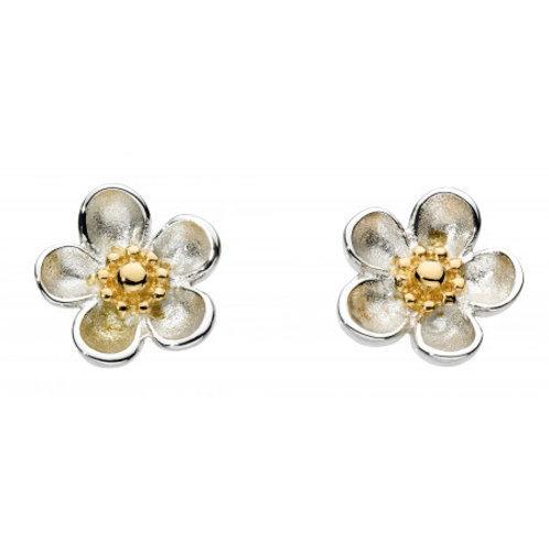 Blossom Wood Rose Yellow Gold Plate Stud Earrings