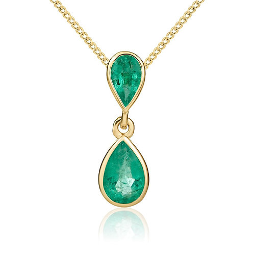 Emerald Pear Double DropYellow Gold pendant and chain