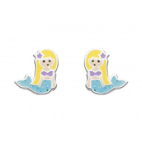 Mermaid silver and enamel stud earrings
