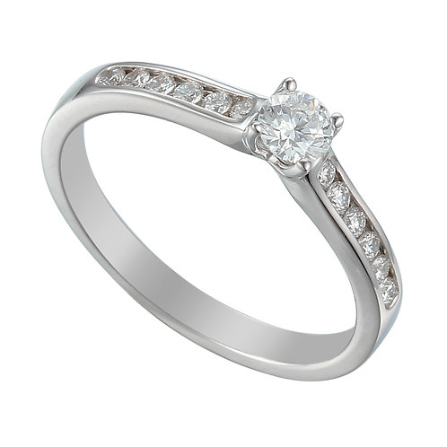 Diamond solitaire ring with Diamond channel set shoulders