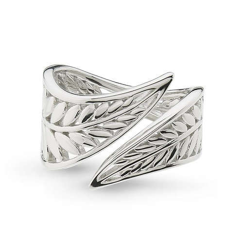 Silver blossom eden wrapped leaf ring