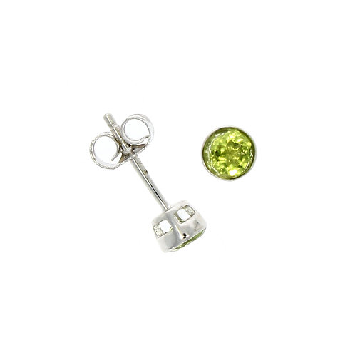 Peridot and white gold stud earrings