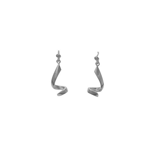 Curly drop silver earrings