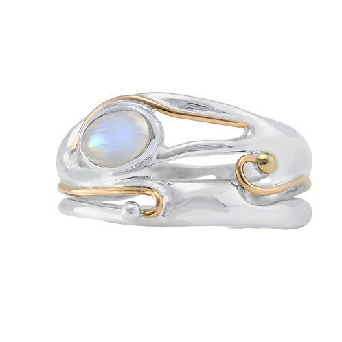 Moonstone Organic silver ring